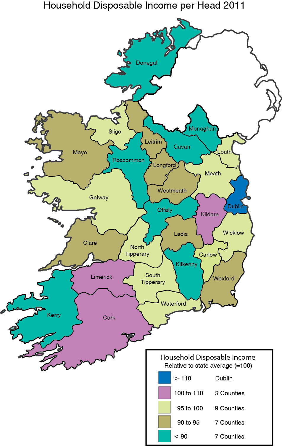 Map Of Ireland 26 Counties.County Incomes And Regional Gdp 2011 Cso Central Statistics Office