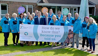 Household Survey Staff hold a banner for the launch of the CSO Surveys Marketing Campaign